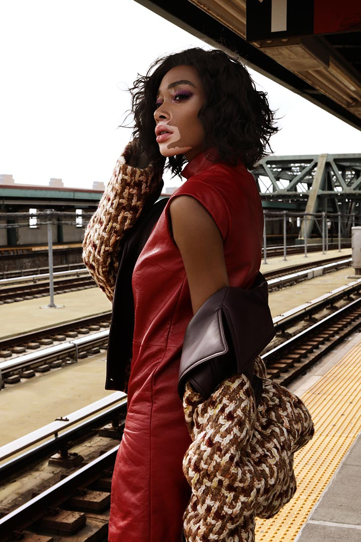 Winnie Harlow at the train station - Grazia Magazine