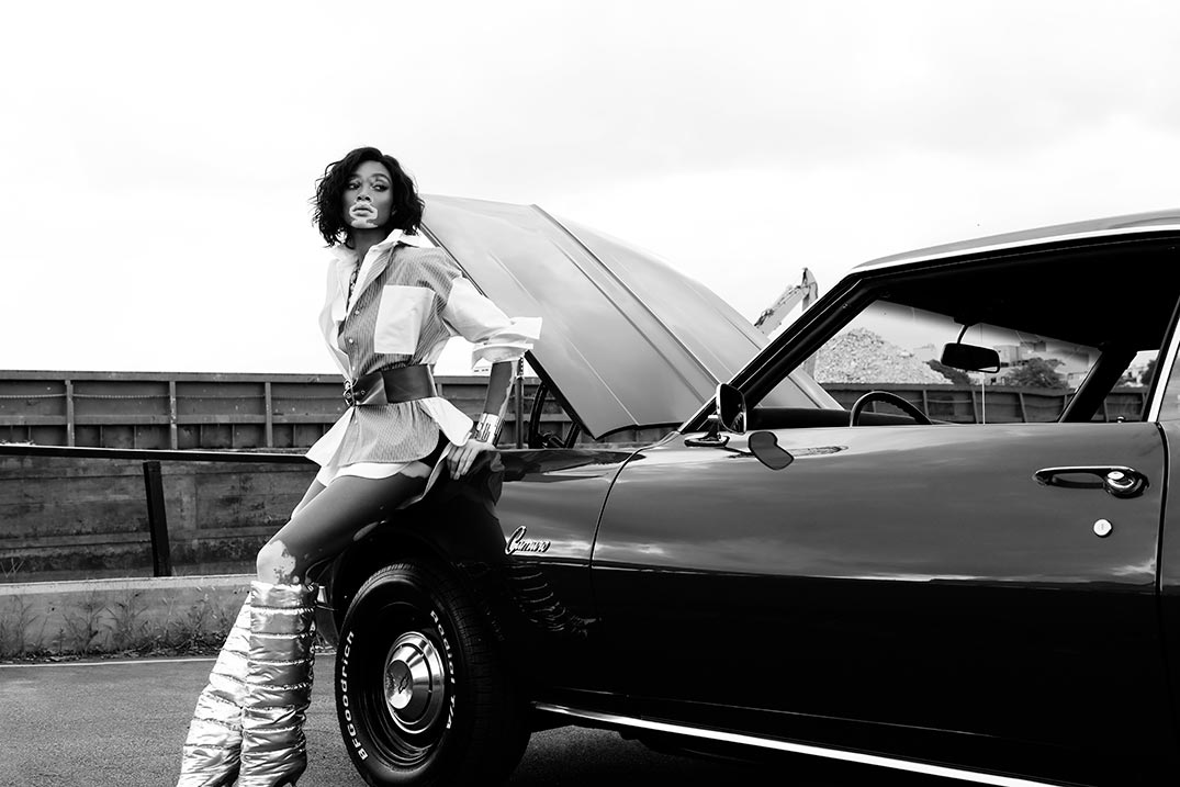 Winnie Harlow sports car photo - Grazia Magazine